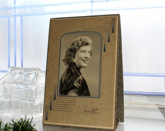 Vintage Photograph Young Woman Art Deco Frame 8 x 5.5 Inches