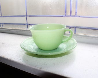 Jadite Cup and Saucer Fire King Alice Pattern Vintage 1940s