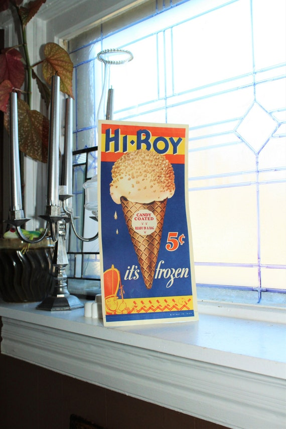 Vintage 1930s Hi Boy Ice Cream Sign Paper Sign Advertising