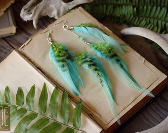 lime, mint, and turquoise feather earrings