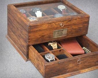 Men's Watch Box, Watch Case, Watch Box, Wood Watch Box, Watch Display, Personalized Gift, Custom Watch Box - Glass Top Box holds 12 watches.
