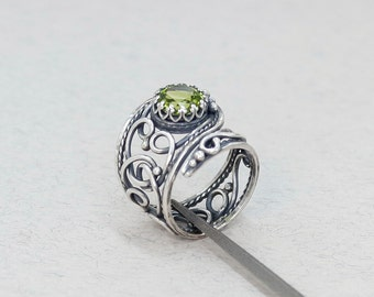 Antique peridot ring wire wrapped ring natural stone ring sterling silver antique ring green stone ring adjustable anniversary gift