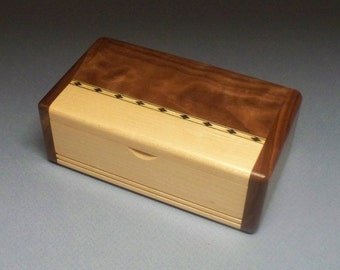 Small Wooden Box, Walnut & Maple Inlay Box, Gift Idea, Best Man Gift, Watch Box, Corporate Gift, Small Wooden Box