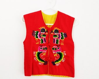 Vintage Children's  Red Chinese Dragon Vest Children's Chinese Vest Chinese Dress Up Chinese Costume Toddler Baby Chinese New