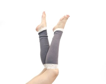 Lace Leg Warmers, Adult Leg Warmers Womens, BootToppers, Ballet Yoga Long LegWarmers, Grey Gray, Knee High Socks, Gift for Her, Womens Gift