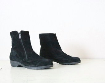 1980's suede / fleece lined ankle boots / 7