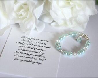 Something Blue BABY GIRL Keepsake Bracelet, New Baby Gift, 1st Pearls, Birthday, Baby Gift Baby Blue Pearl Bracelet -- FREE Gift Packaging