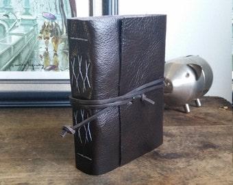 Handmade Leather Journal, Dark Brown Hand-Bound 4.75 x 6 Journal by The Orange Windmill on Etsy 1754