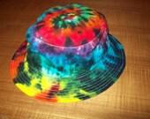 Tie Dye Bucket Hat, Cap, Head band, Skull Cap, Floppy Hat tie dye, Rainbow Crush