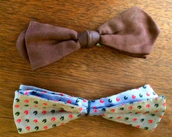 Vintage  Ormond Bow Tie 1940 Set Of Two Brown Blue