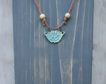 butterfly pendant, ceramic jewelry, turquoise butterfly, adjustable pendant, batik, boho jewelry, boho chic, artisan clay jewelry, gift idea