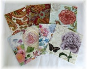 8 Beautiful Napkins for Collage, Scrapbooking, Decoupage, No Duplicates, includes Free Tutorial