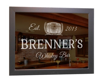 "Custom Bar Mirror (Whiskey) 18"" x 24"" w/ Hardwood Frame, Personalized Bar Mirror, Whiskey Bar Mirror, Etched Bar Mirror, Home Bar Mirror"