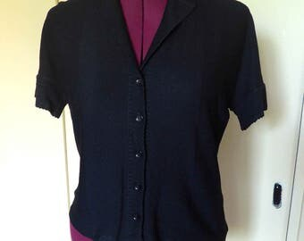Nice 1950's French Vintage Black Jersey Top - Size M-L
