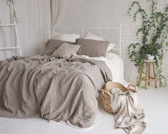 Flax Bedding Linen Set... Linen Duvet Cover and Two Pillowcases Queen Gray Grey Stonewashed Eco friendly - Custom size