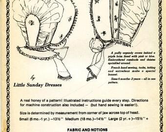 Bonnet Pattern / Organdy Bonnet / Baby Bonnet / Embroidered Bonnet / French Bonnet / Little Sunday Bonnet