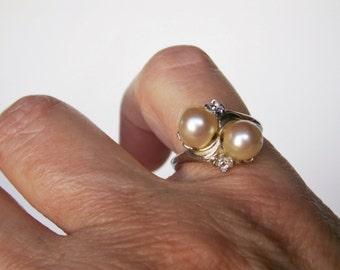 Vintage Double Faux Pearl Sterling Silver Floral Motif Ring Size 7
