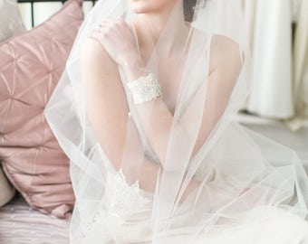 Esme Beaded Lace Wedding Veil in Ivory, White in all lengths including elbow, fingertip, floor, chapel and cathedral