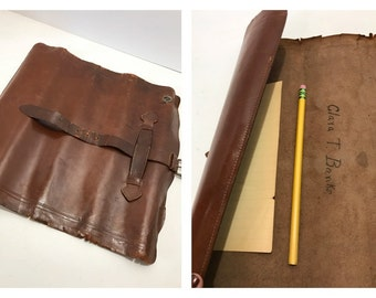 Vintage Rolled Scroll Portfolio Attache Case Folder Photographs Sketch Art Journal Poetry Travel Diary w/ Buckle Strap Brown Leather Rustic