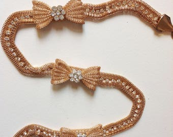 reserved don't buy Vintage gold chain belt bow rhinestones