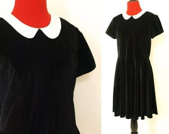 Vintage 90s classic babydoll white collar black velvet dress hot topic size M medium courtney love wednesday addams