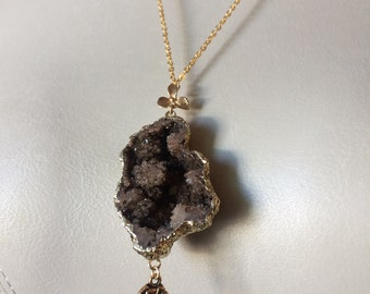 Earth Elephant Druzy Necklace -  Brown Coffee Colored Drusy Stone - Gold Elephant and Chain - Jewelry