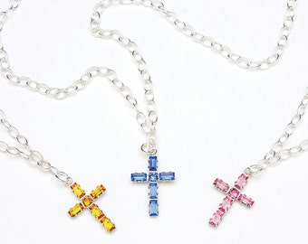 Cross Birthstone Necklace - Religious Cross Jewelry - Christian Cross Necklace - Confirmation Gift for Girls - Birthstone Jewelry for Her