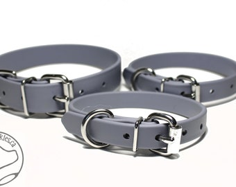 """NEW- Stormy Gray - 5/8"""" (16mm) Wide  - Beta Biothane Dog Collar - Leather Look and Feel - Custom Size - Stainless  or Brass Hardware"""