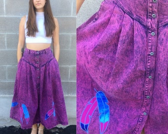 1980s pink black denim pleated maxi skirt w/ feather applique
