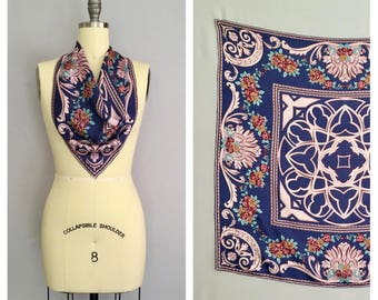 Cathedral scarf   vintage 1970s floral silk headscarf   70s Celtic scarf