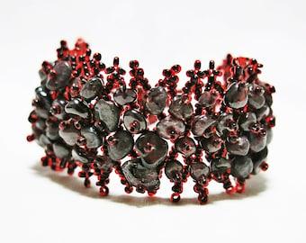 Raw Garnet Bracelet, Raw Stone Bracelet, Raw Garnet Jewelry, Raw Gemstone Bracelet, Seed Bead Bracelet, Men Bracelet, Women Bracelet