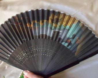 Black Paper Hand Fan with Lake Scene, Paper Folding Fan