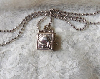 Prayer Box Necklace, Silver Sacred Wish Box Pendant with Bibles and Praying Hands