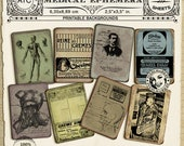Vintage French APOTHECARY LABELS Printable Medical Illustrations ANATOMY Chart Collage Sheet Medicine Backgrounds pdf digital download c26