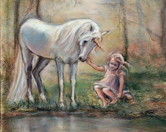 "Unicorn art Fantasy, wall art, enchanted forest, Unicorn and girl ""Magical Facade"" Laurie Shanholtzer Canvas or paper prints"