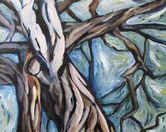"Tree print/ Giclee Print of Original Acrylic Painting 7""x10.5"""
