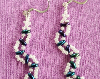 Iridescent earrings pearl accents wedding
