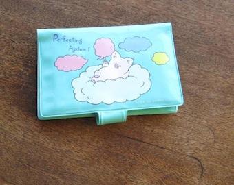 Vintage Sanrio Aqua Blue Vinyl Wallet; 'Perfecting Pigdom' Retro Zashibuta Souvenir Wallet/Fun! Kawaii! Free Shipping/U.S.