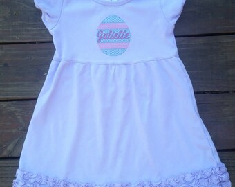 Embroidered Easter Egg Ruffle Tee or Dress with Free Personalization