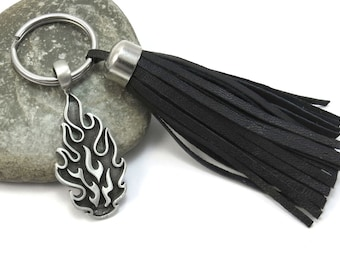 Tribal Fire Keyring with Premium Leather Tassel, Car Accessories, Flame Keychain