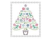 Folk Art Cross Stitch Pattern - Scandinavian Cross Stitch Pdf - Christmas Tree Cross Stitch Pattern - Holiday Cross S