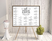 Wedding Seating Chart (Eat, Dance, Love) - Digital File, DIY, Printable, pdf, Calligraphy, Eat Drink and Be Married, Black and White, Modern