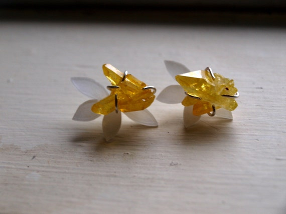 Sunshine Aura Quartz Earrings, Ear Jackets Sterling Silver, Sunflower Stud Earrings - Portion Goes to Animal Charity
