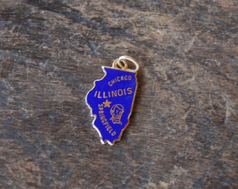 Vintage State of Illinois Charm 1/20th 12K Gold Filled Kinney Blue Enamel Chicago Springfield Abe Lincoln Craft Supply // Vintage Jewelry
