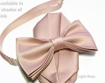 Pink Blush, Dusty Rose Light Rose bow tie with pocket square set, adult and kid size