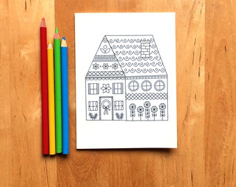 Gingerbread House Card - A7 and A6 sized folded cards - Christmas cards printable - party invitation - Christmas coloring cards craft