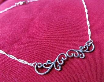 Art Nouveau Necklace Choker Necklace Silver Choker Chain Necklace Sterling Bar Necklace Sterling Silver Pendant Fantasy Jewelry- Curvaceous