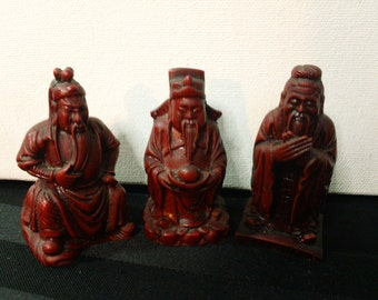Set of Three Chinese Wise Men Red Resin Figurines  ~ Vintage Asian Feng Shui Home Decor