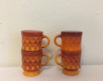 vintage fire king mugs, vintage Kimberly Mugs, set of four orange mugs, vintage 1970s mugs