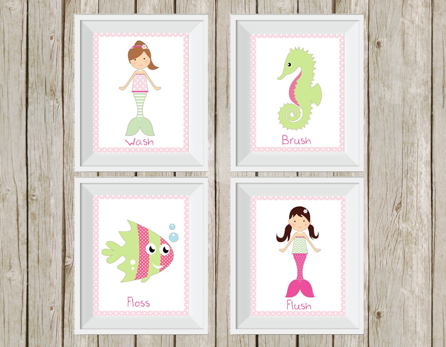 Bathroom wall art sea - Mermaid Bathroom Mermaid Decor Pink And Green Under The Sea Kid S Bathroom Decor Bathroom Wall Art Bathroom Rules Mermaid Prints